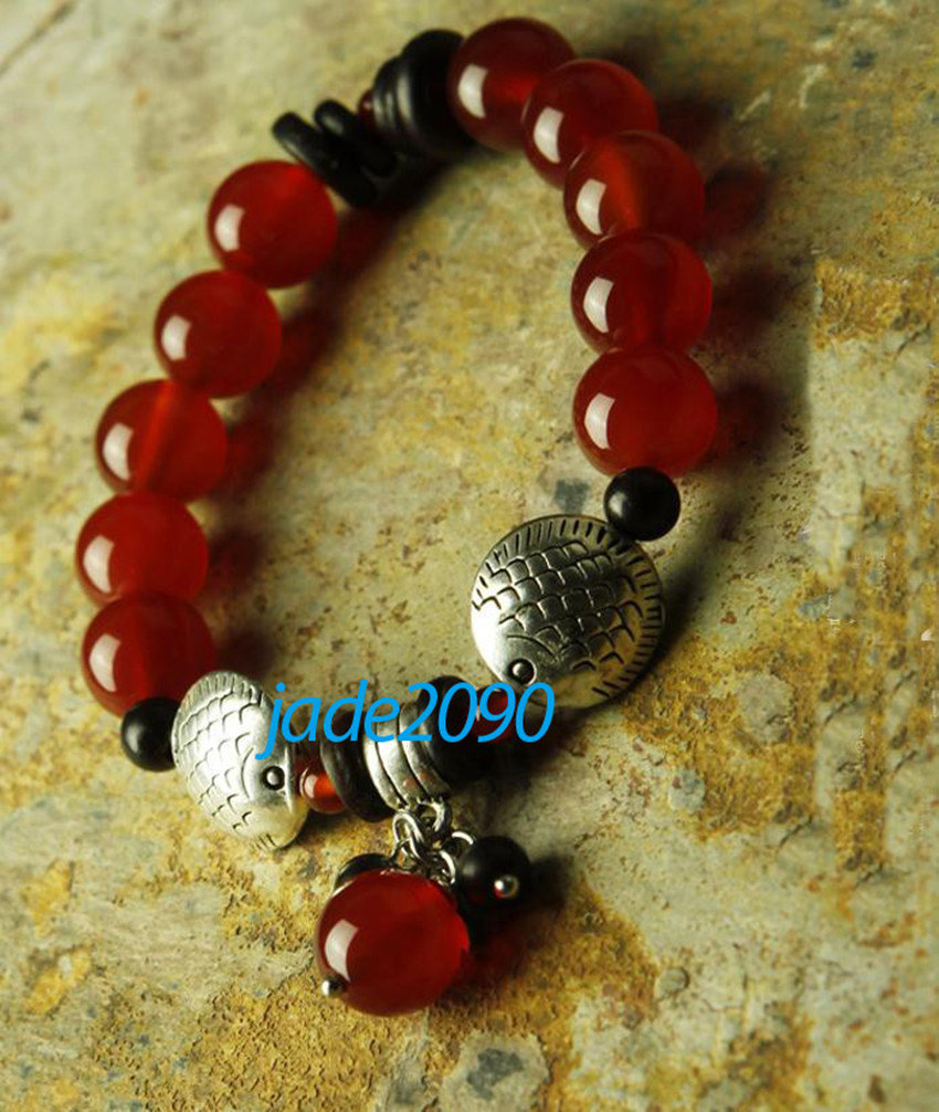Primary image for FREE SHIPPING - Tibetan Natural Red jadeite jade with Silver charm beaded  brace