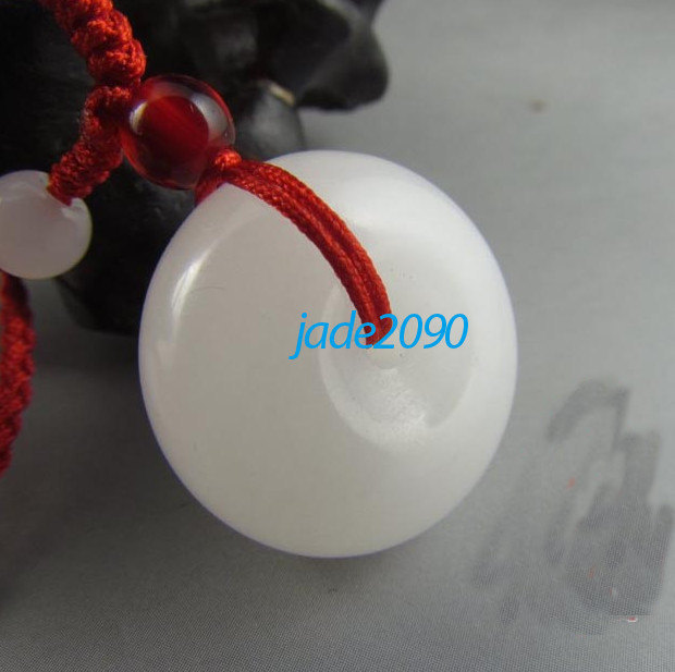 Primary image for Free Shipping - Amulet  Natural white jade jadeite Luck ring charm pendant - jad