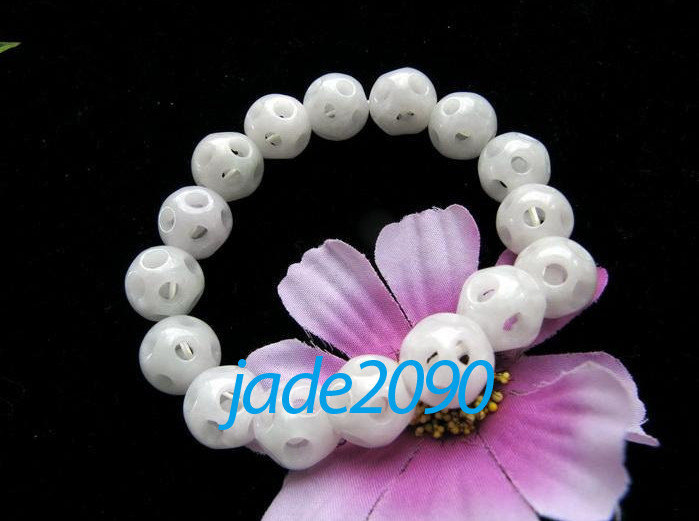 Primary image for Free Shipping - Hand carved jade Skull bracelet , natural white Jadeite Jade car
