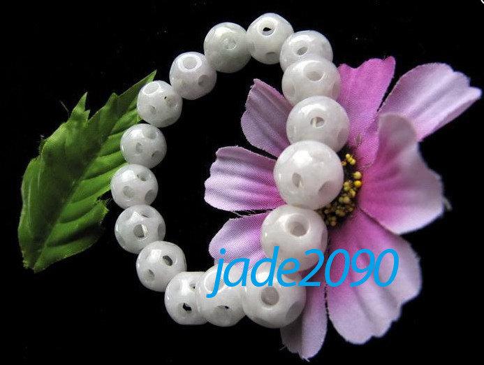 Free Shipping - Hand carved jade Skull bracelet , natural white Jadeite Jade car