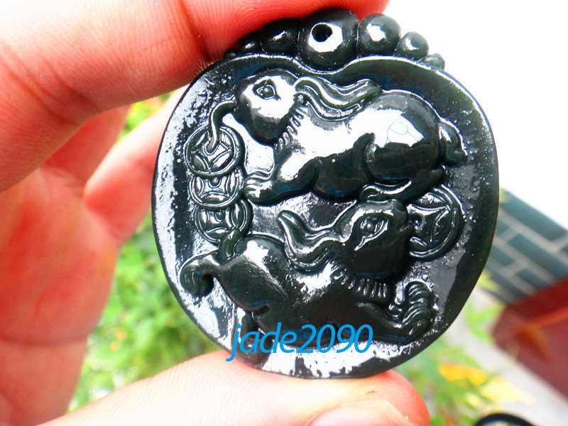 Primary image for Free Shipping - 100% Natural dark green jadeite jade carved Rabbit charm Pendant