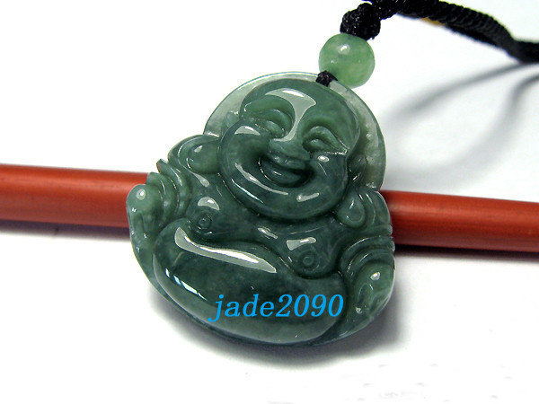 Primary image for FREE SHIPPING Natural dark green  jade Happy /  happiness /  Compassion buddha c
