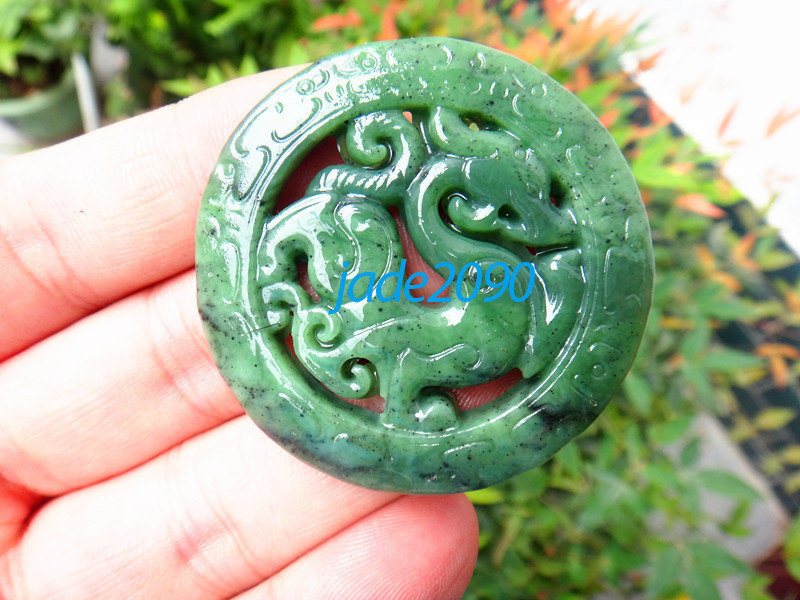 Primary image for Free Shipping - green jadeite jade dragon , Elegant Natural green Dragon jadeite