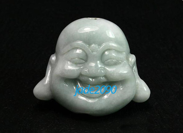 Primary image for Free shipping - good luck Hand carved  Laughing Buddha Head  white jadeite jade