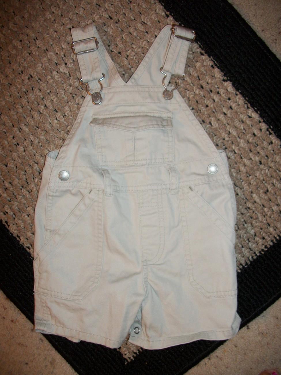 Boy's Old Navy Khaki Shortalls Sz 6-12 Months