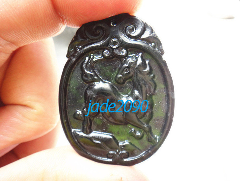 Primary image for Free Shipping -  Jadeite Jade Hand- carved Natural black Horse jadeite jade char