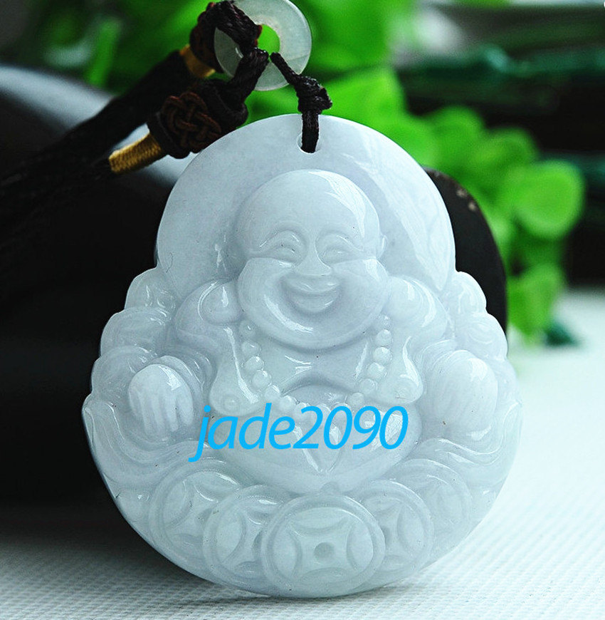 Primary image for Free shipping -  good luck Natural white jade jadeite carved  Laughing Buddha ch