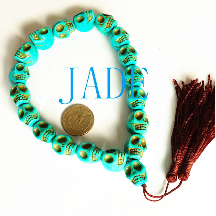 Primary image for Free Shipping -  Tibetan Buddhism Hand Carved Turquoise Skull Prayer Beads Medit