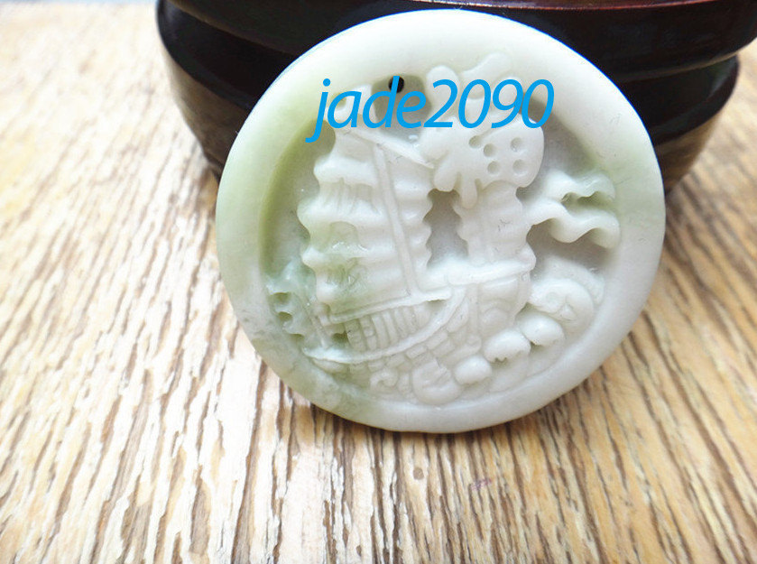 Primary image for Free Shipping - good luck hand carved Natural white jadeite jade Surf boat charm