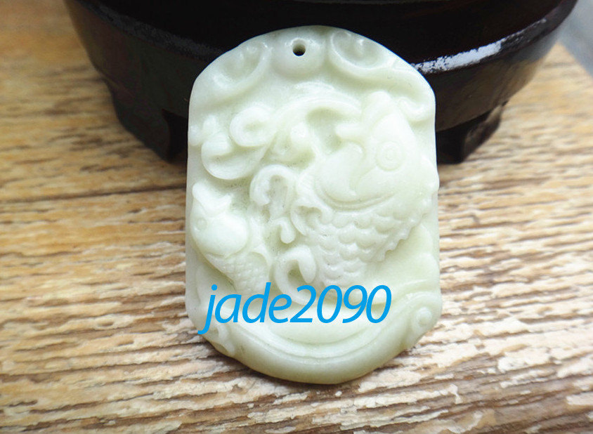 Primary image for FREE SHIPPING - AAA Grade Natural white  jadeite jade carved  two Fish / Goldfis