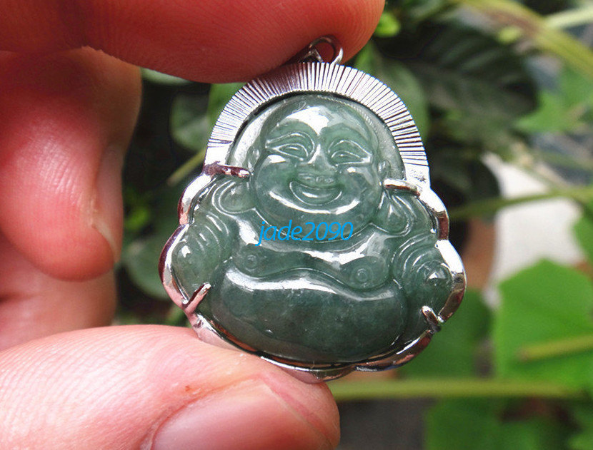Primary image for Free Shipping - good luck Amulet Hand carved Natural dark Green jade Laughing Bu
