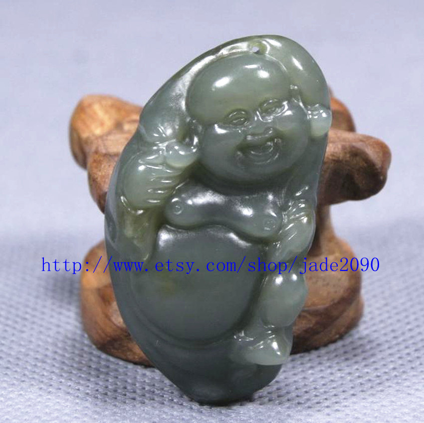 Primary image for Free Shipping - Amulet  Natural  Green jadeite jade carved Laughing Buddha charm