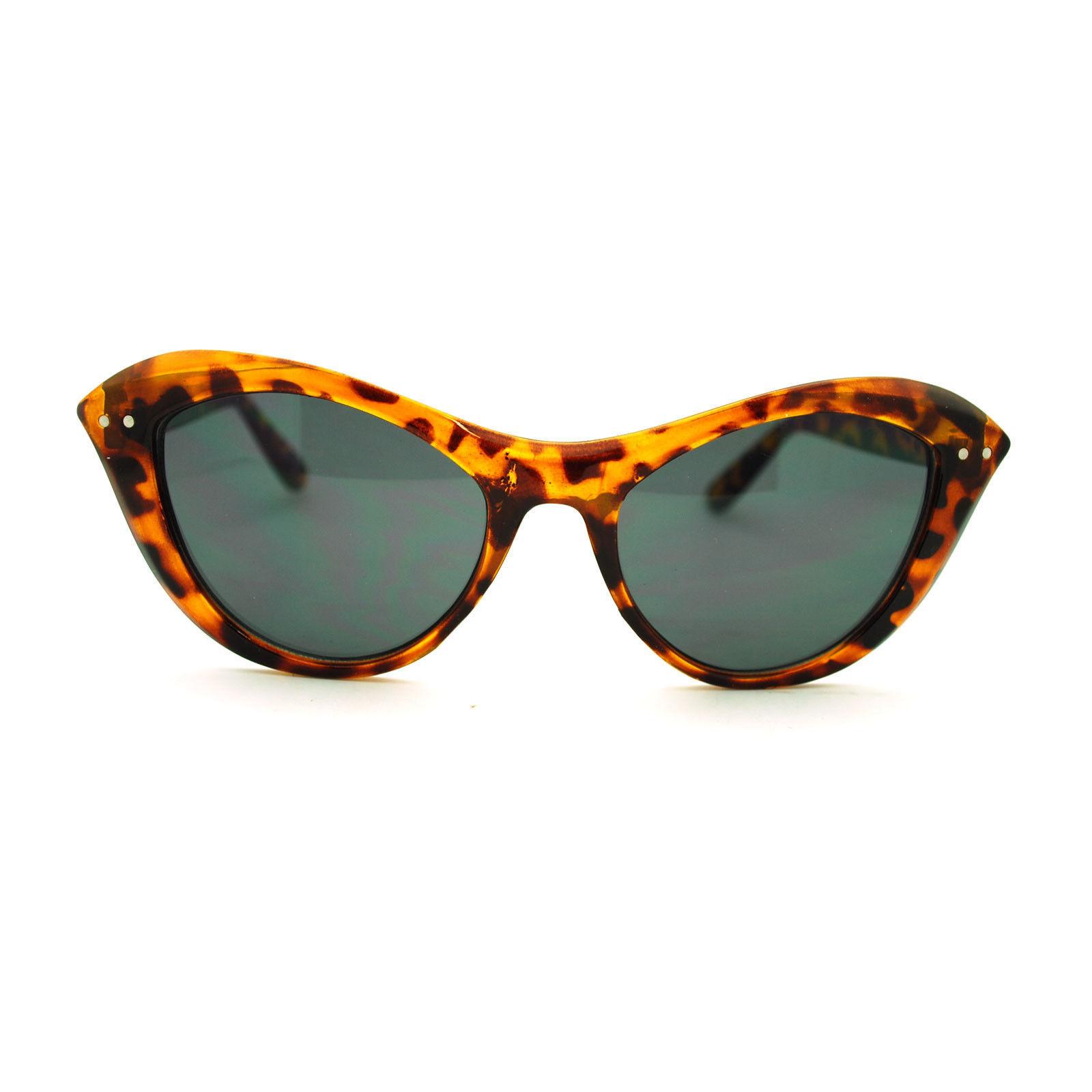 Narrow Retro Womens Cat Eye Thick Plastic 20s Brow Designer Fashion Sunglasses