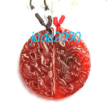 Free Shipping - chinese Dragon and Phoenix  Natural red agate /  Carnelian Carve - $19.99