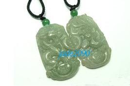Free Shipping - Amulet good luck  Natural  Green jadeite jade carved dragon and  - $30.00