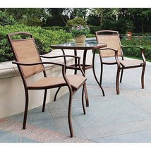 Rust-Free 3-Piece Patio Garden Bistro Set Pool Side Furniture Glass Tabl... - €113,85 EUR