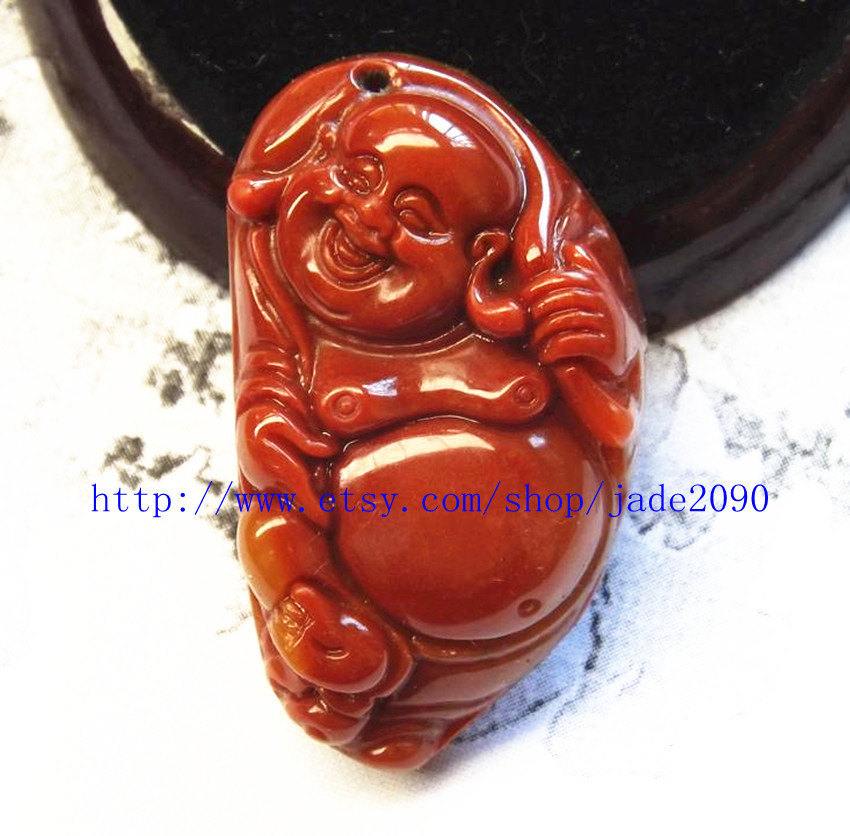 Primary image for Free shipping - Hand carved  100% Real Natural yellow jade Happy /  happiness /