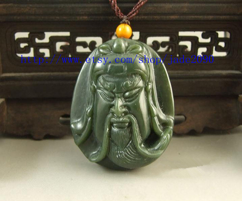 Primary image for Free shipping - green jadeite jade luck Guan Yu head charm pendant / Fashion jad