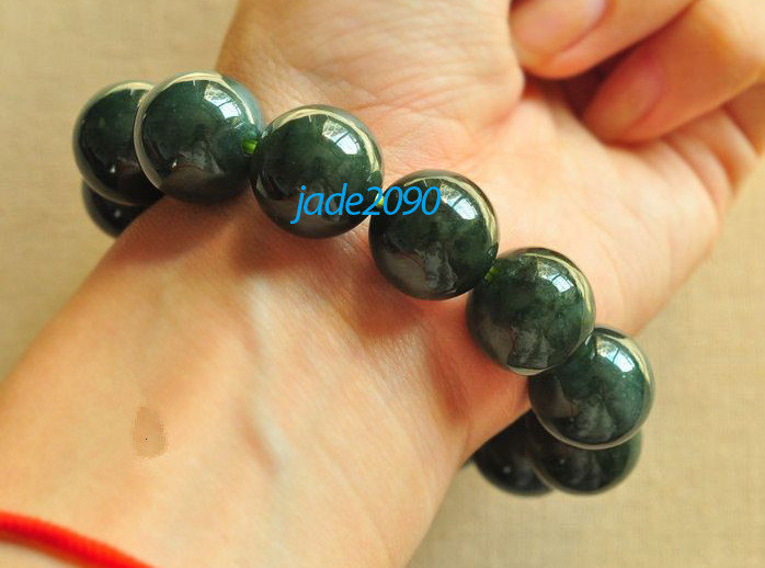 Primary image for Free Shipping - 100% Nice Grade AAA Natural dark Green Jadeite Jade charm Bracel