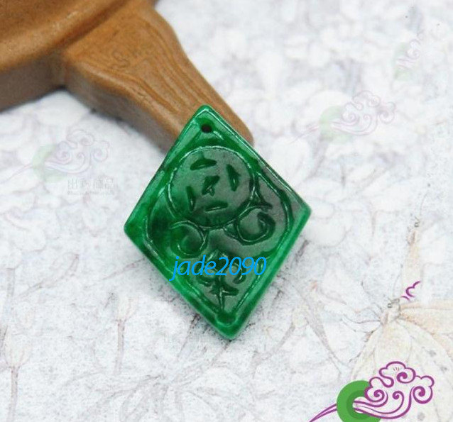 Primary image for Free Shipping - good luck  Natural green jade carved Health diamond pendant char
