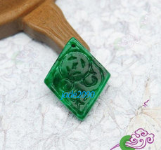 Free Shipping - good luck  Natural green jade carved Health diamond pendant char - $19.99