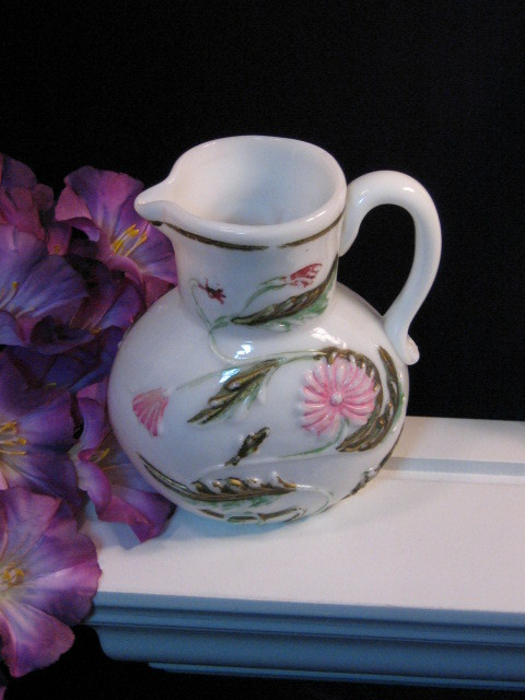 Antique Victorian Milk Glass Creamer Floral Pitcher, Hand Painted, Rare Piece