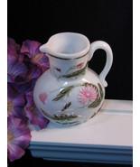 Antique Victorian Milk Glass Creamer Floral Pitcher, Hand Painted, Rare ... - $89.99