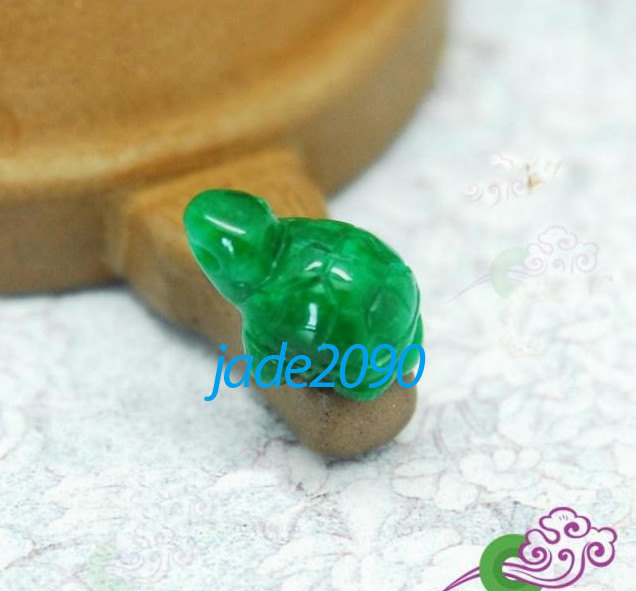 Primary image for Free Shipping - Hand carved lovely Natural green jade carved sea Turtle Amulet c