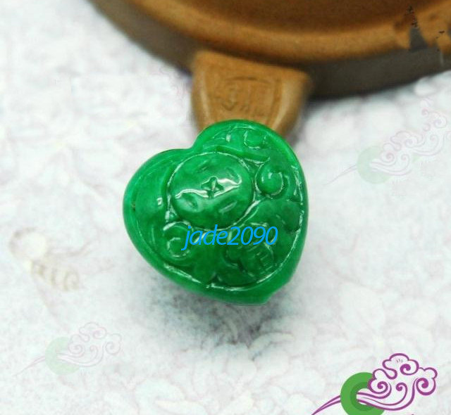 Primary image for FREE SHIPPING - AAA Grade Natural green jade carved love Heart jade charm pendan