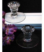 Fostoria Glass American Crystal Candle Holders, Vintage Art Glass, Mid C... - $24.99