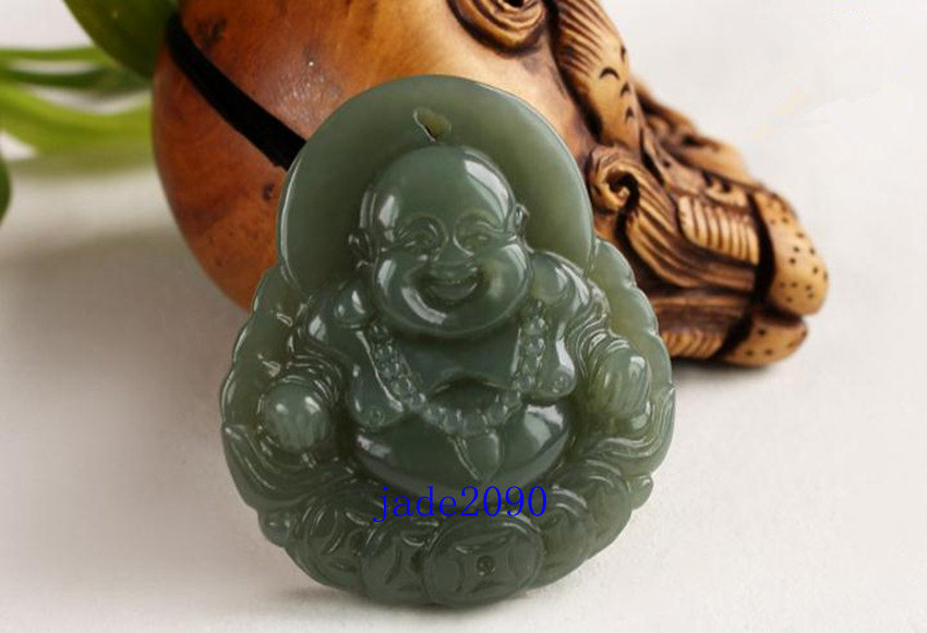 Primary image for FREE SHIPPING Natural  green jade prayer best Money Laughing Buddha charm jade p