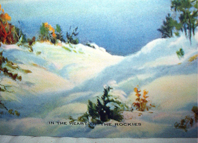 In The Heart Of The Rockies-Vintage Lithograph,Mountains,Lak