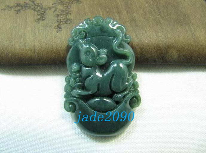 Primary image for FREE SHIPPING - AAA Grade Natural dark green  jade carved Rat charm jade pendant