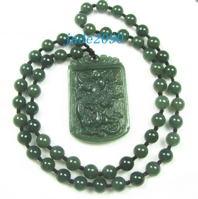 Primary image for Free Shipping - 2012 Year Good luck Amulet Natural dark green Jadeite Jade carve