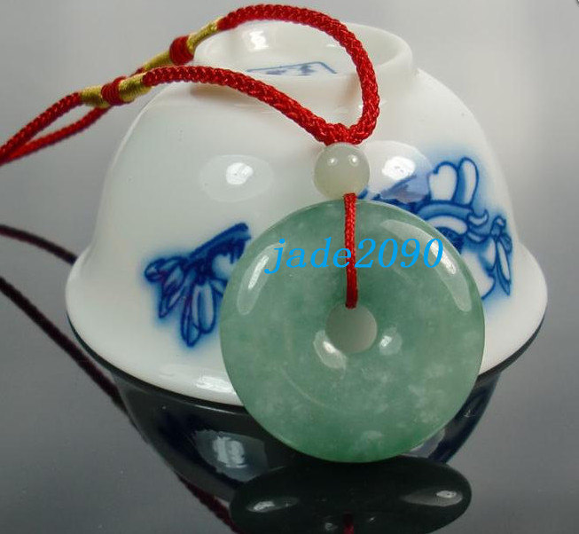 Primary image for Free Shipping - Real 100%  Green jadeite jade Blessing Button ,  luck Natural gr