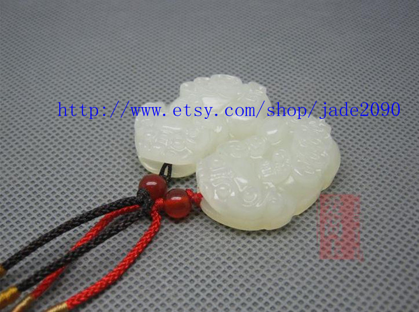 "Primary image for Free Shipping - good luck natural white charm jadeite jade charm ""PI YAO"" pendan"