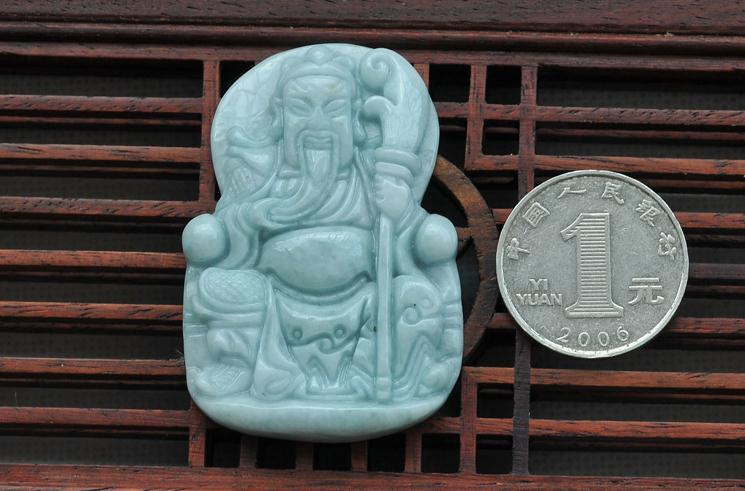 "Primary image for Free shipping - Real jadeite jade luck ""Guan Yu"" charm pendant charm 8mm beaded"