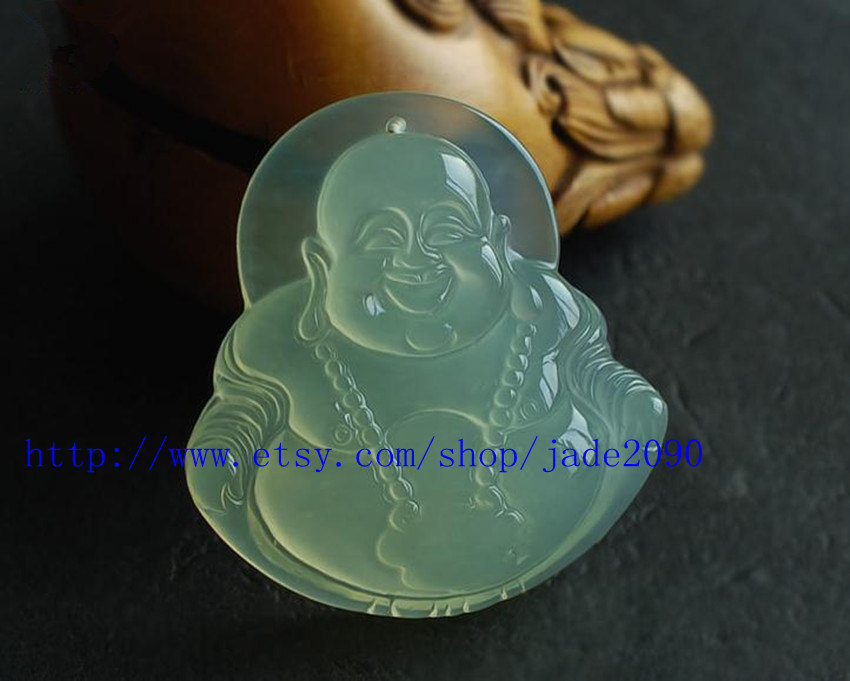 Primary image for Free Shipping - good luck Light Green jade Laughing Buddha  Amulet charm Pendant
