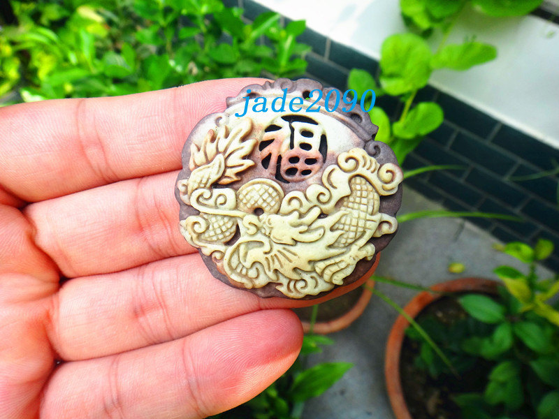 Primary image for Free Shipping - good luck Amulet  Natural yellow jade carved  Blessing Dragon  c