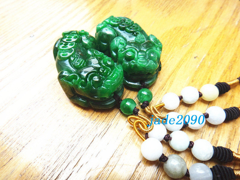 Primary image for Free Shipping - good luck Real Natural Green jade carved Pi Yao  Amulet charm Pe