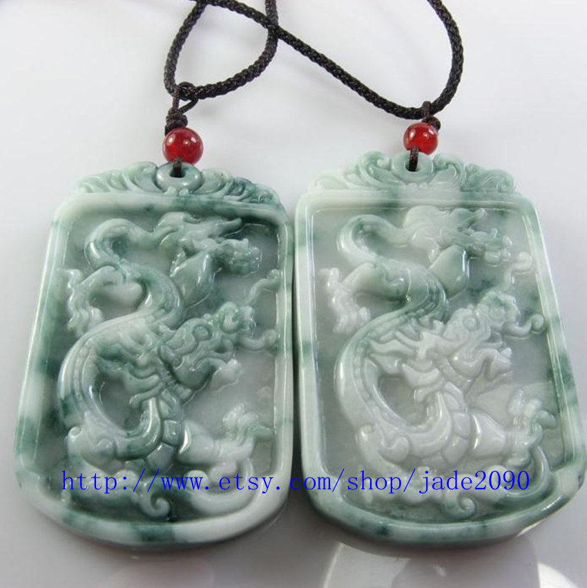 Primary image for Free Shipping - REAL green jade Hand- carved Natural green dragon  jade charm Pe