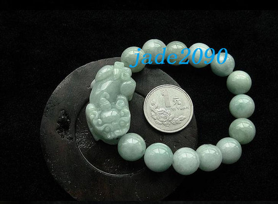 Primary image for Free Shipping - good luck Amulet natural green jade '' PI YAO'' Prayer Beads cha