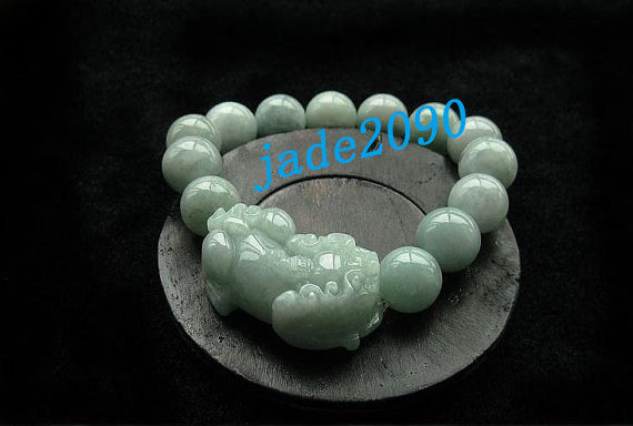 Free Shipping - good luck Amulet natural green jade '' PI YAO'' Prayer Beads cha