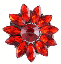 Red Flower Rhinestone 20mm Snap Charm Interchangeable Jewelry For Ginger... - $6.19
