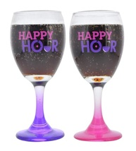 "WINE GLASSES Set of 2 Novelty Saying ""Happy Hour"" Pink Purple Glass Gift... - $15.99"