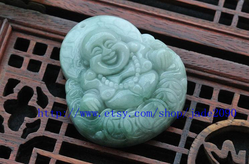 Primary image for FREE SHIPPING - Natural light green  jade jadeite Happy /  happiness /  Compassi