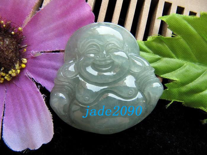 Primary image for Free Shipping - good luck Amulet Hand carved AAA Natural light Green jade Laughi