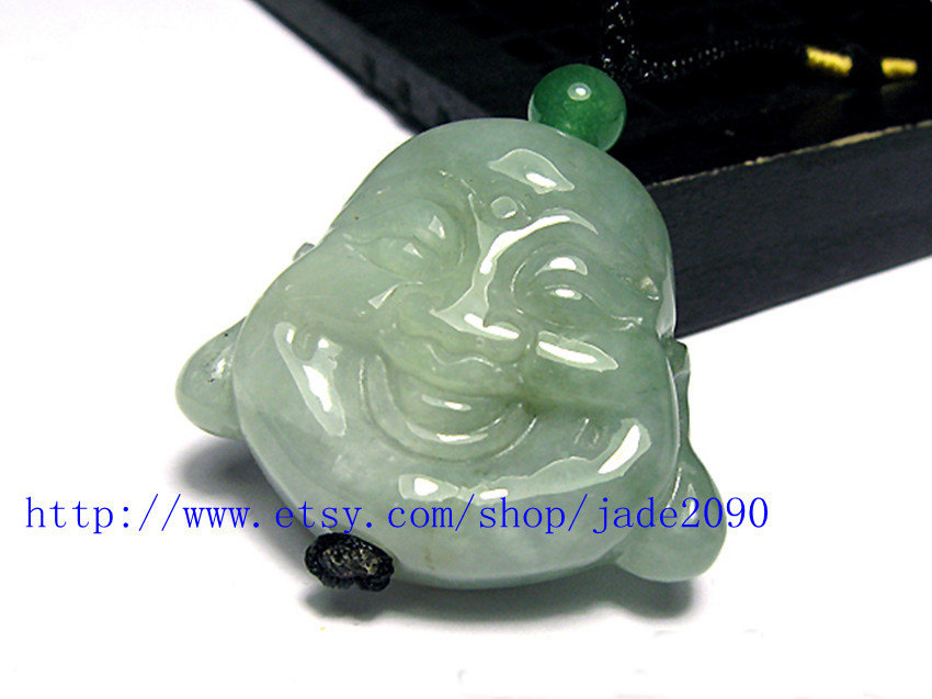 Primary image for FREE SHIPPING - Natural light green  jade Happy /  happiness /  Compassion buddh