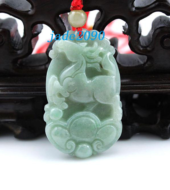 Primary image for Free Shipping - Amulet real Natural green jade Zodiac Horse charm Pendant/ neckl