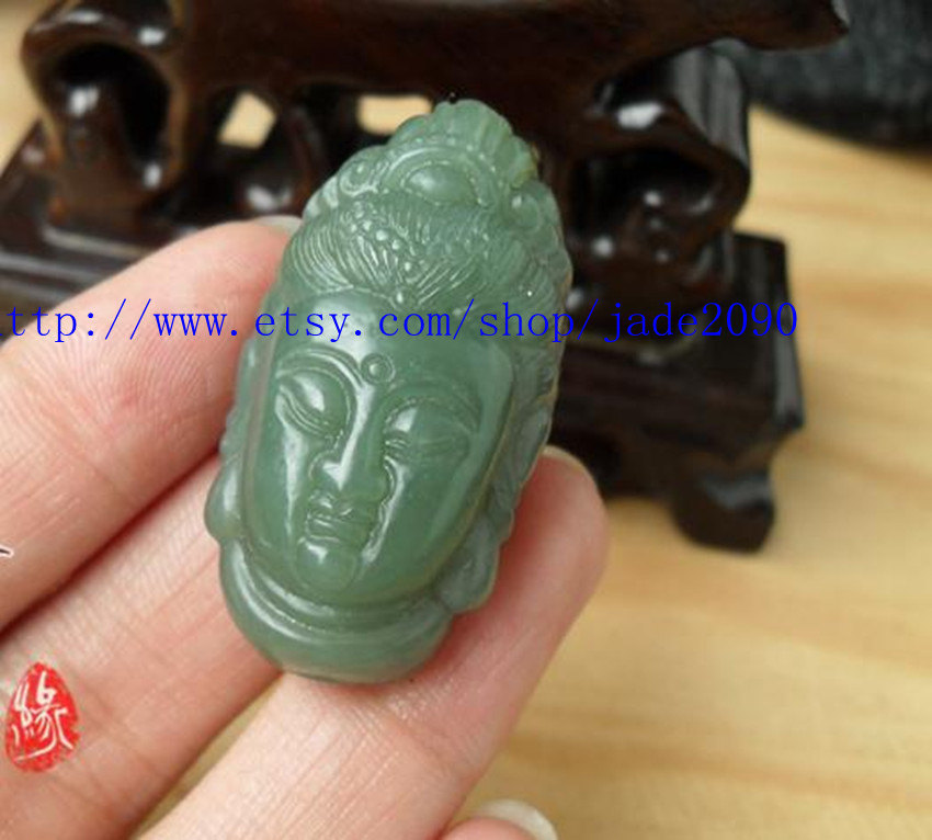 Primary image for Free shipping - green jadeite jade ,  Natural green jade carved Buddhist Bodhisa